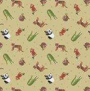 Lewis & Irene - Small Things World Animals - 6886 - Asian on Pale Green - SM25.2 - Cotton Fabric